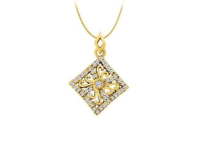 Diamond square shaped pendant in 14K Yellow Gold 0.25 CT TDWPerfect Jewelry Gift for Women