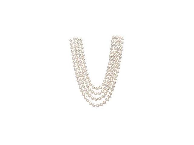 4 Strand of 9 MM White Cultured Freshwater Pearl Necklace with 14K Yellow Gold Clasp