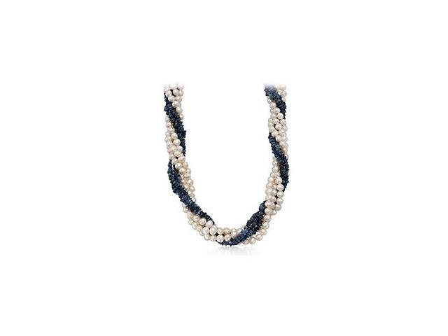 Created Sapphire and Cultured Freshwater Pearl Strand Necklace with Yellow Gold Filled Clasp