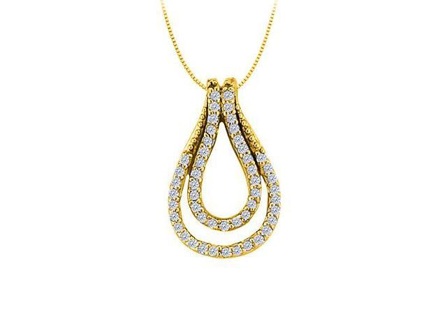 Diamond Double Tear Drop Pendant 14K Yellow Gold 0.25 CT TDW with Yellow Gold ChainJewelry Gift