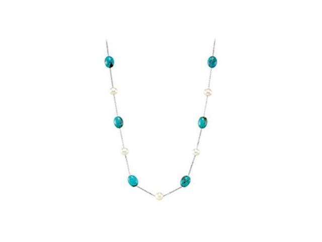Sterling Silver Freshwater Cultured Pearl  Genuine Turquoise 42 Necklace - 07.50-08.00 MM/12 X