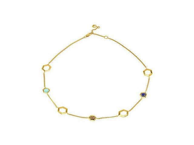 Sterling Silver 18 Multiple Gemstone Necklace