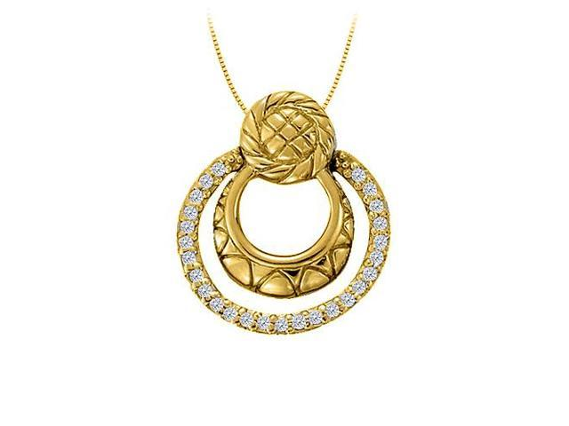 Diamond Triple Circle Pendant in 14K Yellow Gold 0.25 CT TDWJewelry Gift for Women