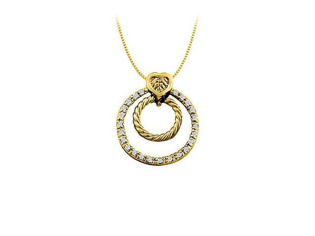 Diamond Double Circle Pendant in 14K Yellow Gold 0.33 CT TDWJewelry Gift for Women
