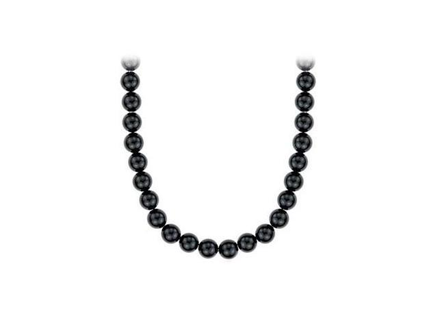 16 Inch Long Necklace with Black Onyx 10 MM in Rhodium Treated Sterling Silver