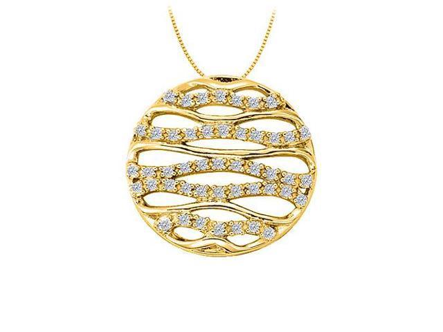 Diamond Fancy Circle Fashion Pendant in 14K Yellow Gold 0.25 CT TDWJewelry for Women