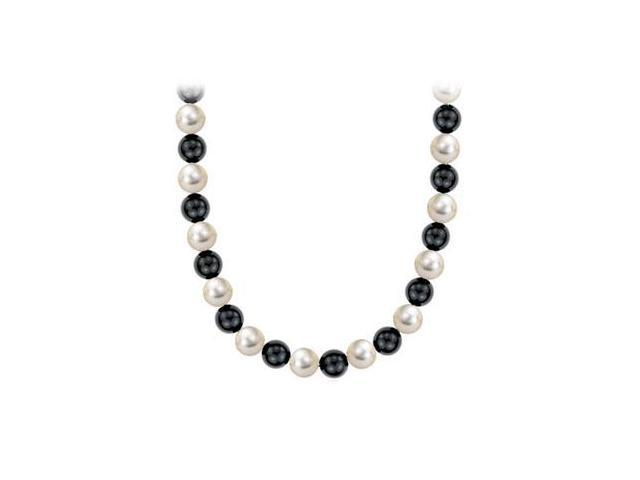 mother of pearl and black onyx 36 Inch long necklace with 10mm in .925 sterling silver clasp