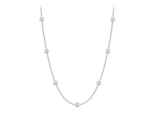 Diamonds By The Yard Necklace in 14K White Gold Bezel Set 0.10 ct.tw