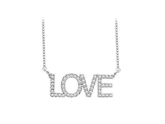 CZ LOVE Necklace with One Carat in Rhodium Treated .925 Sterling Silver