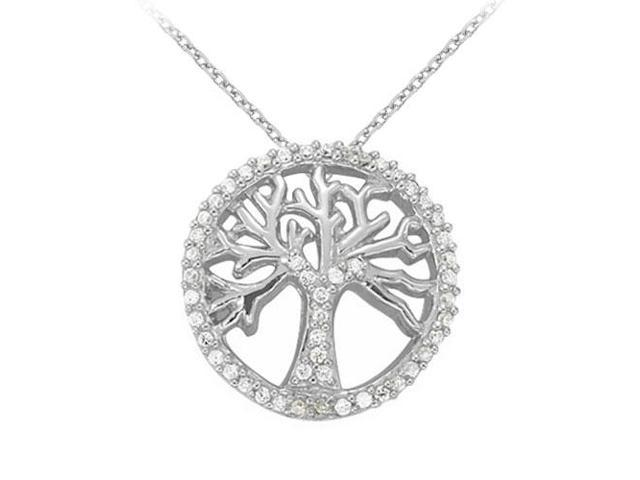 Diamond Fancy Circle Fashion Pendant in 14K White Gold 0.25 CT TDWJewelry Gift for Women