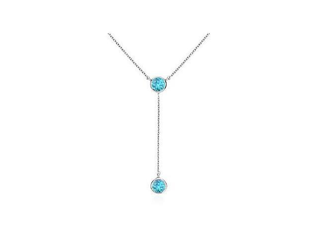 Bezel Blue Topaz Drop Necklace in .925 Sterling Silver Total Gem Weight of 0.20 Carat