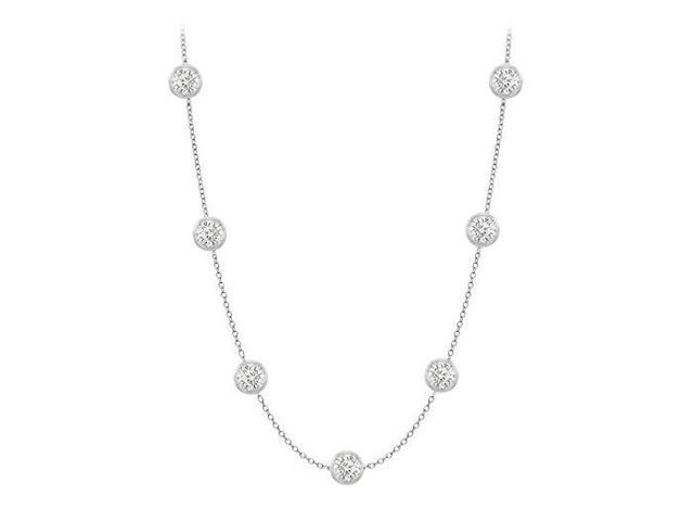 Diamonds By The Yard Necklace in 14K White Gold Bezel Set 0.75ct.tw