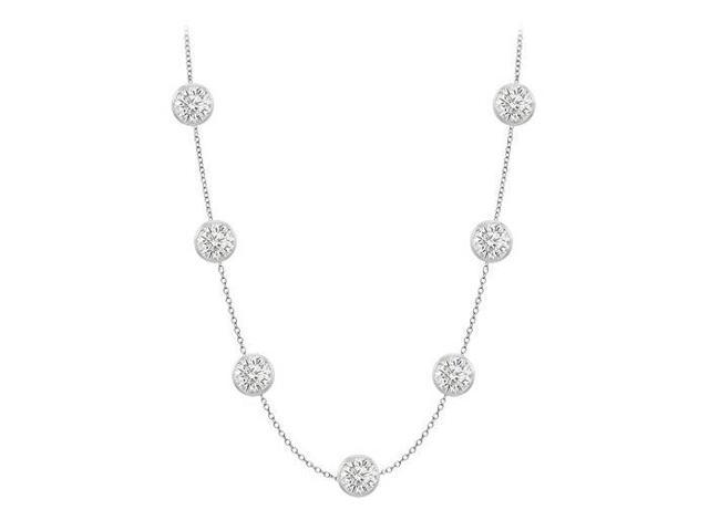 Diamonds By The Yard Necklace in 14K White Gold Bezel Set 1.75 ct.tw