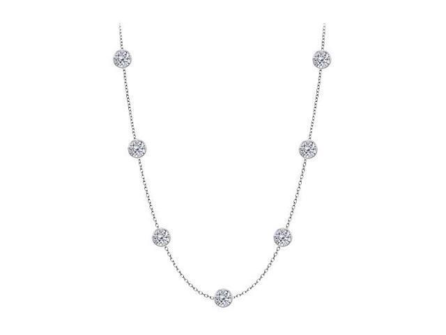 Diamonds By The Yard Necklace on a 14K White Gold Bezel Set 3.00 ct.tw