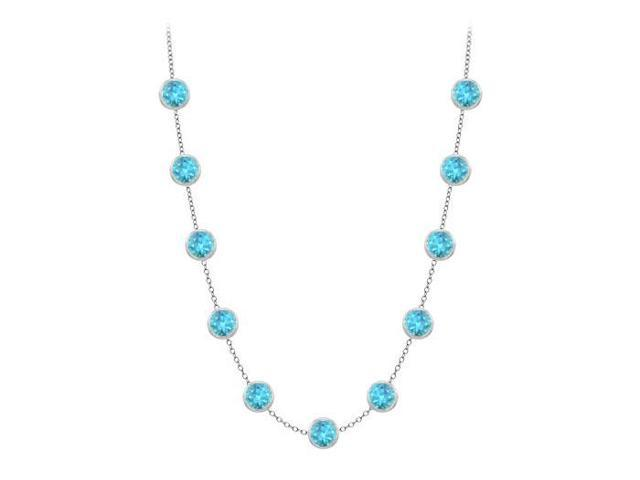By The Yard Diamond Necklace in 14K White Gold 3 Carat Blue Topaz with 16 Inch Long