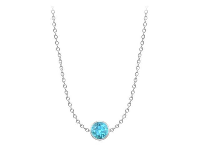 14K White Gold full Yard Blue Topaz Necklace with One Carat TGW