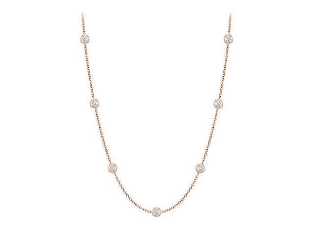 Diamonds By The Yard Necklace in 14K Rose Gold Bezel Set 0.10 ct.tw