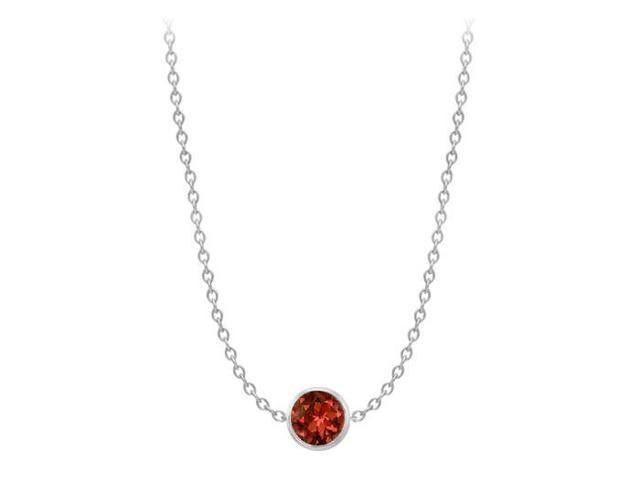 One Yard Necklace in 14K White Gold Cable Chain with Two Carat Garnet