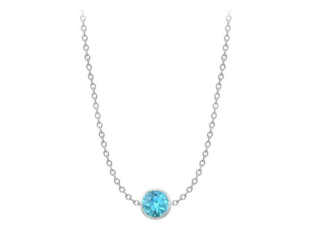 By The Yard Necklace Two Carat Blue Topaz in 14K white gold 16 Inch Long