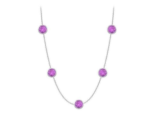Amethyst station necklace by the yard one carat tgw in 14k white gold with 16 inch length