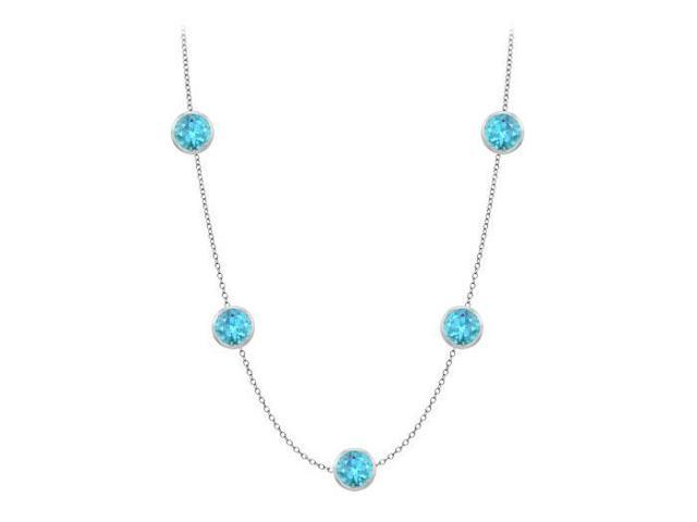 One Yard Long Necklace in 14K White Gold Five Blue Topaz with One Carat TGW