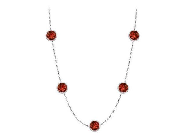Garnet station necklace with complete yard in 14k white gold 1 carat tgw
