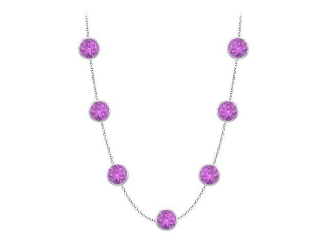 station necklace by the yard amethyst in 14K white gold 2 carat tgw with 16 inch length