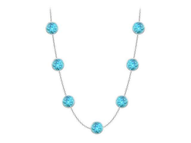 Blue Topaz By the Yard Necklaces in 14K White Gold 2 Carat with One Yard Length