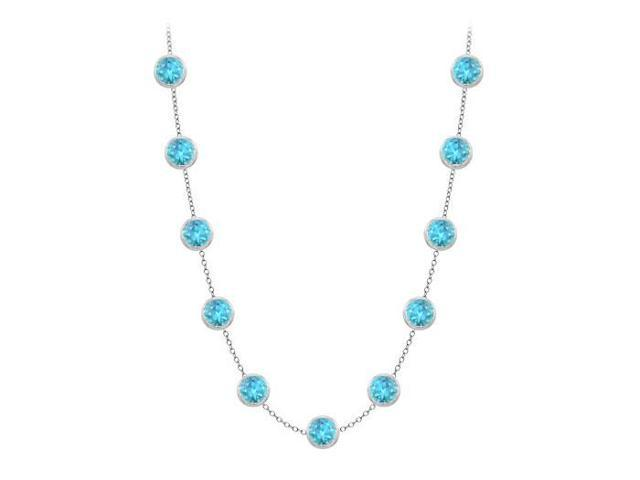 Bezel set blue topaz by yard necklace in white gold 14k two carat with double up cable chain