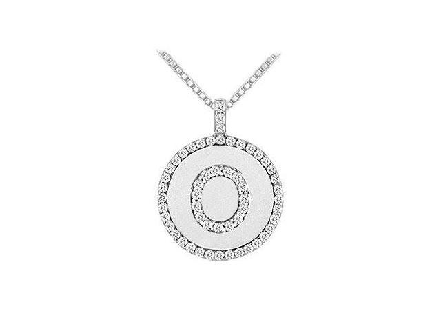 Diamond Initial O Disc Pendant  14K White Gold - 0.60 CT TGW