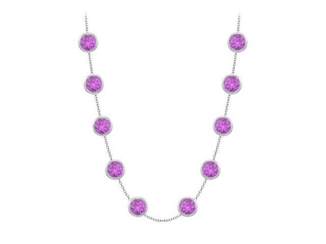Station Necklace By Yard Amethyst in 14K White Gold Three Carat TGW with 36 Inch length