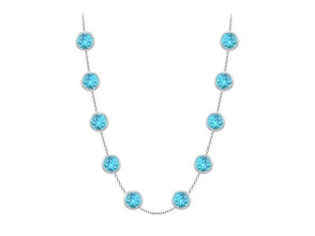 14K White Gold Blue Topaz Station Necklace By The Yard Double Up with 3 Carat TGW