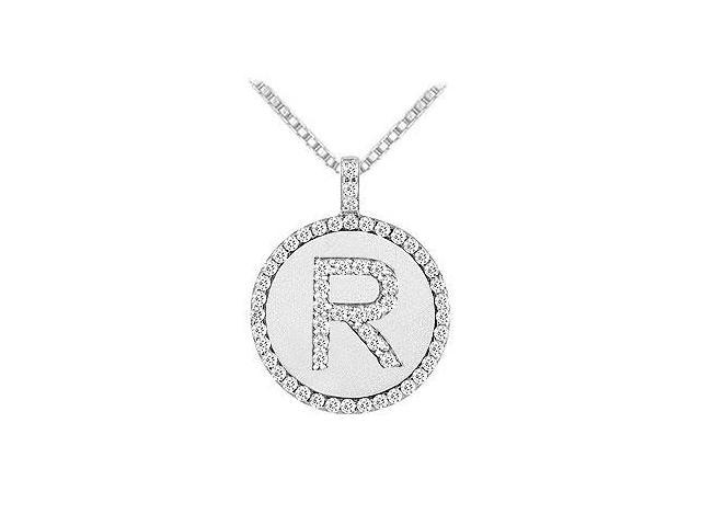 Diamond Initial R Disc Pendant  14K White Gold - 0.60 CT TGW