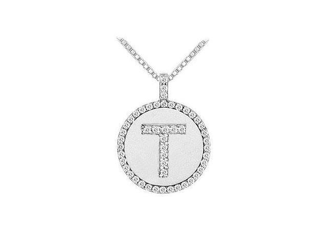 Diamond Initial T Disc Pendant  14K White Gold - 0.50 CT TGW