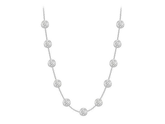 CZ by the Yard Necklace in white Gold 14K with Ten Carat TGW 36 Inch Long