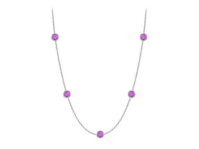 Amethyst by the Yard Necklace in 14K white gold Ten Carat TGW with One Yard Long