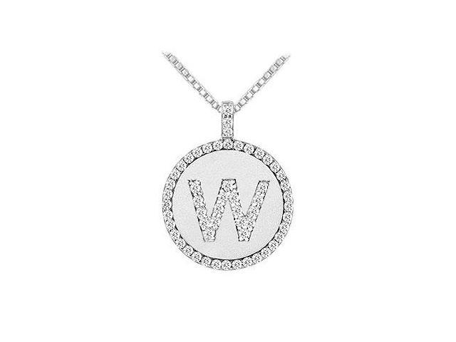 Diamond Initial W Disc Pendant  14K White Gold - 0.60 CT TGW
