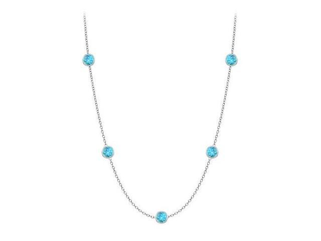 By The Yard Blue Topaz Station Necklace in 14K white gold 10 Carat with 36 Inch Length