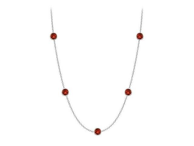 Garnet station necklace by the yard ten carat in 14K white gold complete one yard long