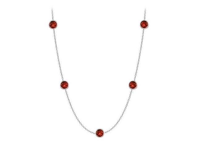 Garnet By The Yard Necklace Twenty Carat in White Gold 14K with 36 Inch Cable Chain