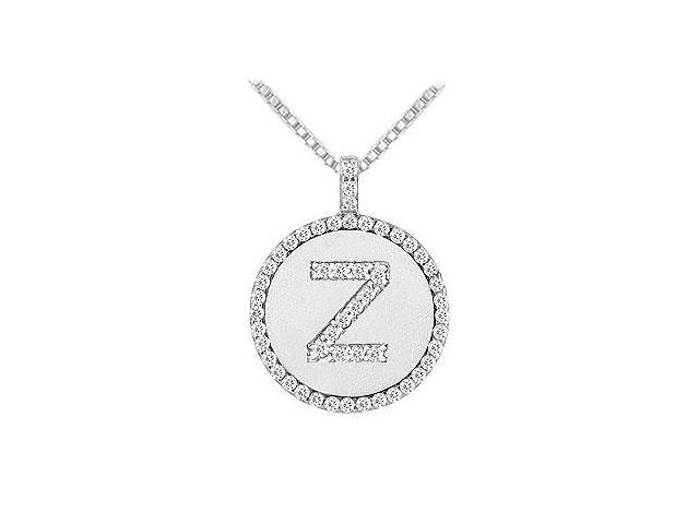 Diamond Initial Z Disc Pendant  14K White Gold - 0.55 CT TGW