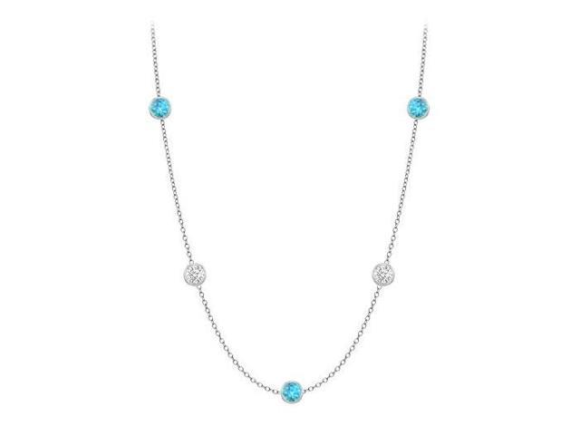 Necklace By The Yard Blue Topaz with Cubic Zirconia Ten Carat TGW in 14K White Gold 36 Inch Long