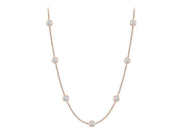 Diamonds By The Yard Necklace in 14K Rose Gold Bezel Set 0.15 ct.tw