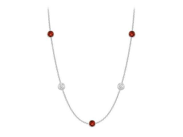 By The Yard Necklace with Garnet and CZ in 14K White Gold 10 Carat TGW with 36 Inch Long
