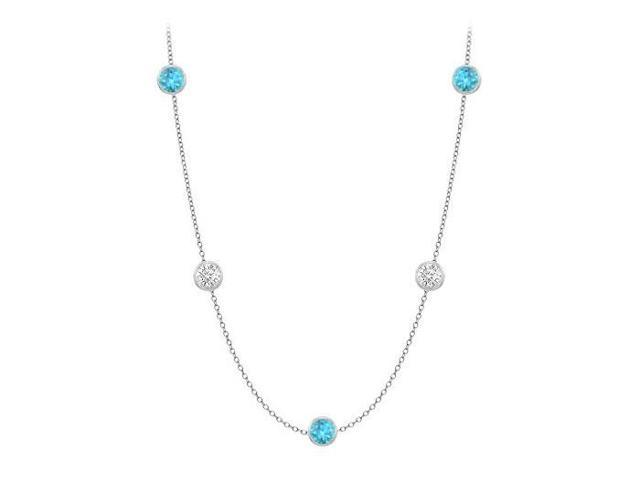 Twenty Carat By The Yard Necklace Blue Topaz and Cubic Zirconia in 14K White Gold 36 Inch Long