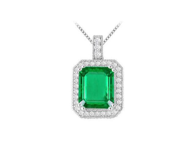 6 Carat Rectangular Frosted Emerald with Cubic Zirconia Pendant in 14K White Gold 7.35 Carat TGW