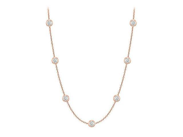 Diamonds By The Yard Necklace in 14K Rose Gold Bezel Set 0.33 ct.tw