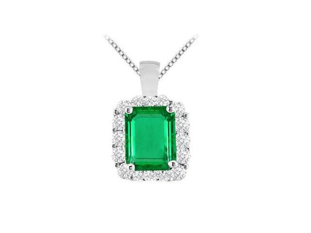 Prong Set Emerald cut Frosted Emerald and Brilliant Cubic Zirconia Pendant in 14K White Gold 7.6