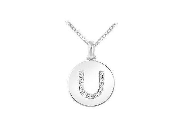 Diamond Disc Initial U Pendant  14K White Gold - 0.15 CT Diamonds