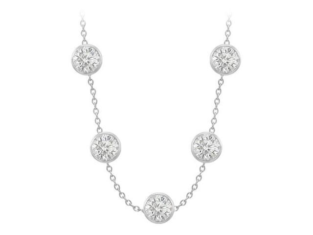 14K White Gold By The Yard Necklace with Cubic Zirconia 20 Carat 36 Inch Length